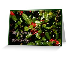 Merry Christmas + Happy New Year Holly Greeting Card