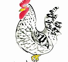 Rooster with his country charm, farm, animal, expressive, illustration by foxandbadger