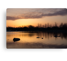 Gloaming - Subtle Pink, Lavender and Orange at the Lake Canvas Print