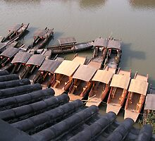 Chinese boats on a ZhuJiaJiao canal by Julien Bertrand