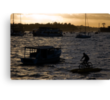 Bicycling In Sydney Harbour Canvas Print