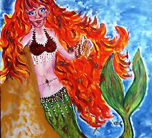 Flame haired mermaid by Shelleymay