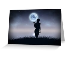 Girl touch the moon Greeting Card