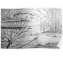 The Danube and A Boat a pencil drawing - all products Poster