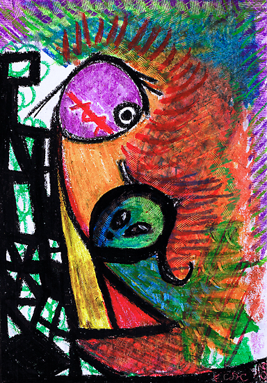 Suffocation - oil pastel on paper drawing by CDCcreative