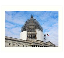 The Capitol Dome Dressed In Scaffolding Art Print