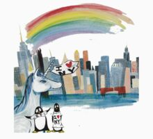 Unicorn and Penguins go to NYC Kids Clothes