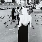 Nun in Trafalger Square by Mike Paget