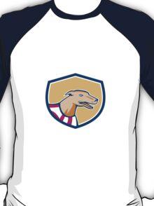 Greyhound Dog Head Side Shield Retro T-Shirt