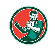 Rugby Player Ball Hand Out Circle Retro by patrimonio