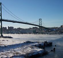 Halifax Bridge Span when it's cold outside by Geoffrey