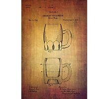 Beer Mug Patent From 1872 Photographic Print