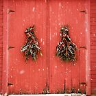 Red Holiday Door by Debbra Obertanec