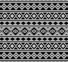 Aztec Essence Pattern II Black White Grey by NataliePaskell