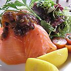 Yorkshire rarebit topped with smoked salmon. by Margaret Hockney