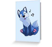 Blue singing, swinging foxy Greeting Card