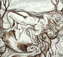 I Kiss the Ground Where She Dreams (Drawing)- by Robert Dye