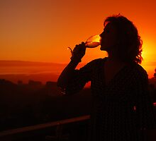 Drinking Wine at Sunset by Karin  Hildebrand Lau