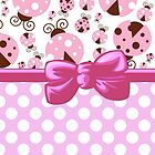 Ribbon, Bow, Ladybugs, Polka Dots - Pink Brown by sitnica