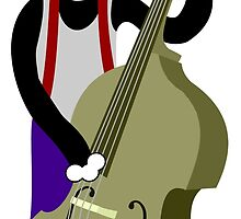 Boston Terrier Upright  Bass Player by pounddesigns