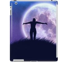 Big moon in the starry space and happy girl silhouette iPad Case/Skin