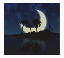 Abstract surreal tropical island silhouette and teen couple Kids Clothes