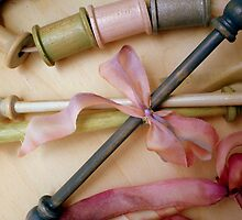 Handpainted Bobbins and Spools with Silk Ribbon by confections
