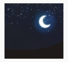 Illustration of night sky with stars and crescent moon Kids Clothes
