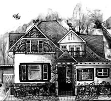 Doodle House Pen and Ink by wildwildwest