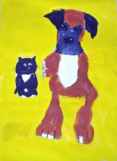 Boxer and Cat - Rhian by John Brotheridge