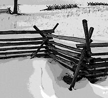 Snow on Wheatfield Road, Gettysburg Battlefield by al holliday