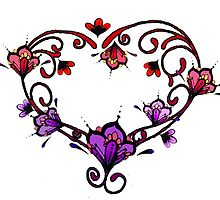 Henna Style Violet Lavender Red and Pink Flower Heart by wildwildwest