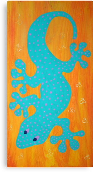 *TRIBAL SERIES: GECKO ON ORANGE* by WENDY BANDURSKI-MILLER