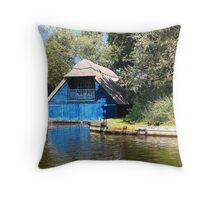 Blue Boathouse Throw Pillow