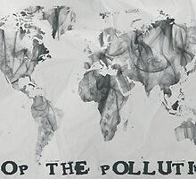 Stop The Pollution World Map Smoke by Eti Reid