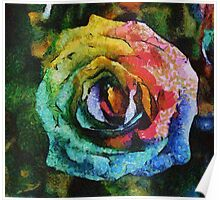 Rainbow Rose painting Poster