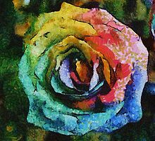 Rainbow Rose painting by Eti Reid