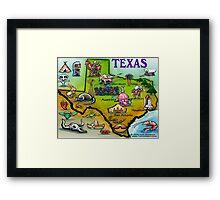 Texas Cartoon Map Framed Print