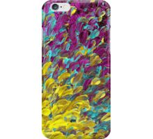 FOLLOW THE CURRENT 2, Bold Colorful Abstract Acrylic Painting Ocean Waves Purple Turquoise Yellow Splash Ombre Fine Art iPhone Case/Skin