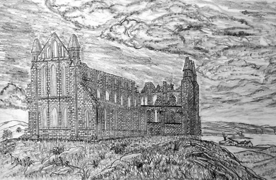 My pencil drawing of Whitby Abbey, Yorkshire - all products bar duvet by Dennis Melling
