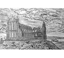 My pencil drawing of Whitby Abbey, Yorkshire - all products Photographic Print