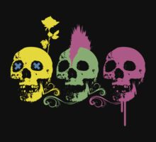 Punk Colourful Skulls with a Flower Kids Clothes