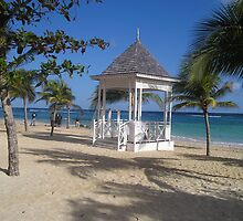 Pagoda on the beach in Jamaica by Kayleigh Sparks