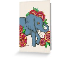 Little Blue Elephant in her secret garden Greeting Card