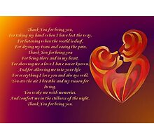 Thank You for Being You Poetry Greeting Card Photographic Print