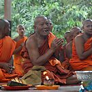 Monks near Bayon Temple, Cambodia by Leigh Penfold