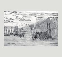 My pencil drawing of Steam Threshing in Yorkshire - all products bar duvet T-Shirt