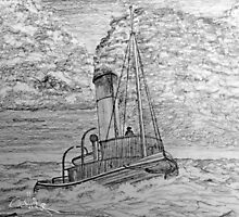 My pencil drawing of a Steam Tugboat  by Dennis Melling