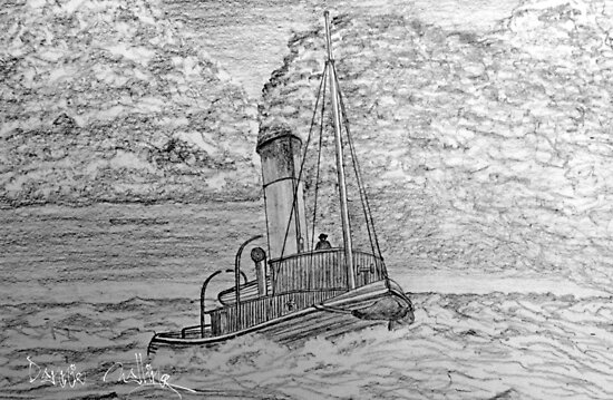 My pencil drawing of Steam Tugboat - all products bar duvet by Dennis Melling