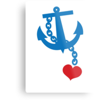 NAVY blue anchor with a love heart Metal Print